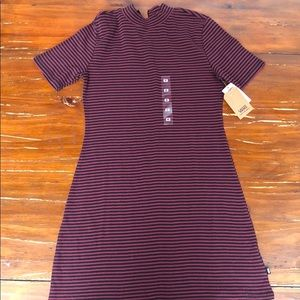 Vans  striped t shirt zip up back dress sz M NWT